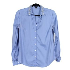 Ann Taylor 2 Blue Jeweled Bling Collar Blouse